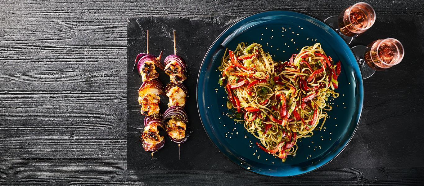 Chicken Kebabs with Noodles