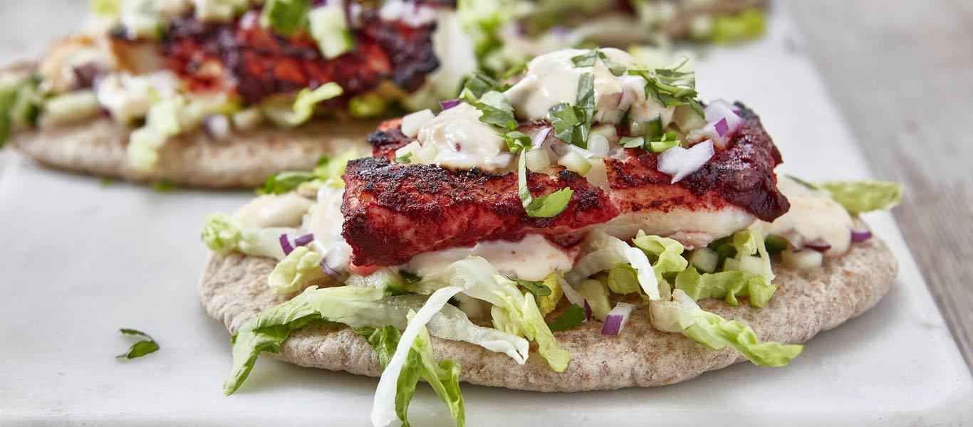 Grilled Cod Tikka in Pitta Bread