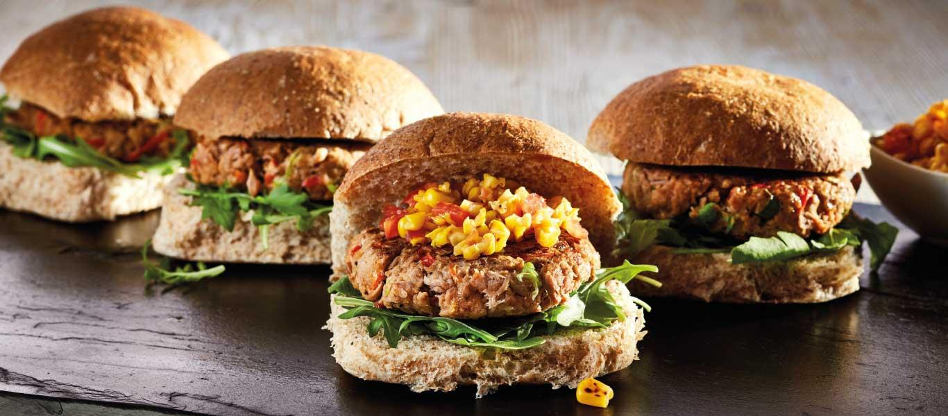 Tuna Burgers with Sweetcorn Relish