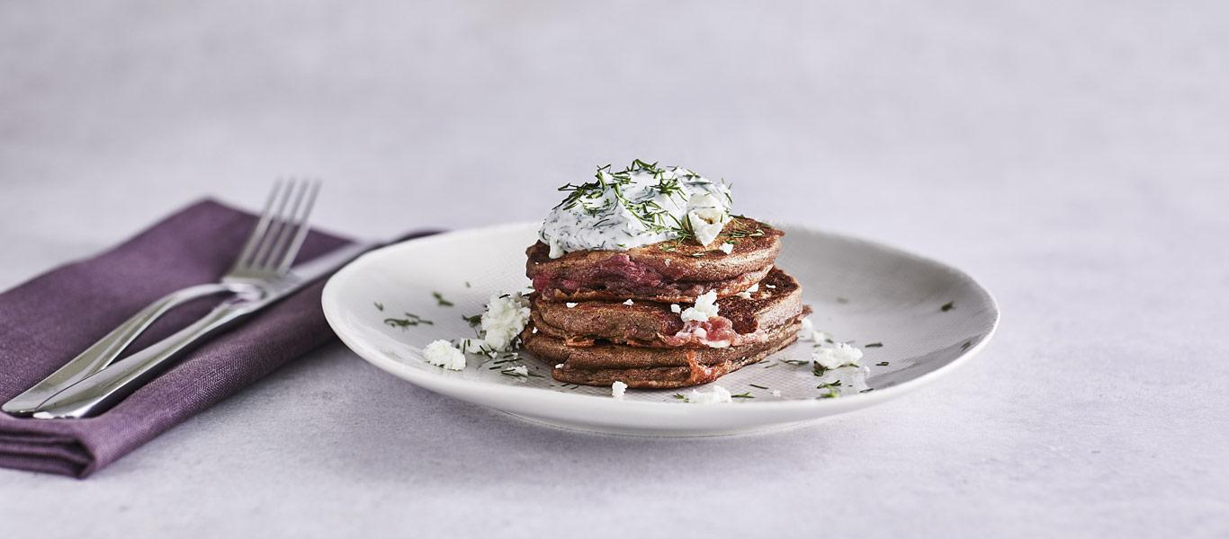 Beetroot and Feta Pancakes with Dill Cream