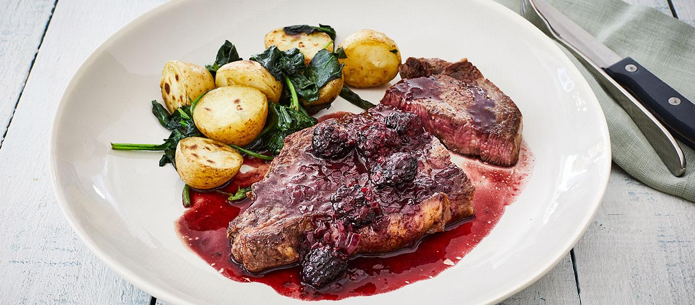 Steak & Blackberry and Gin Sauce with Spinach Potatoes