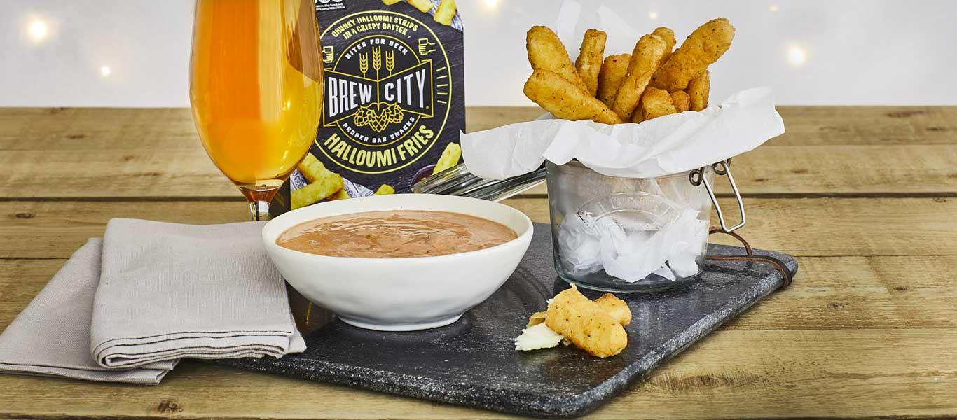 Halloumi Fries and Tomato Chilli Dip
