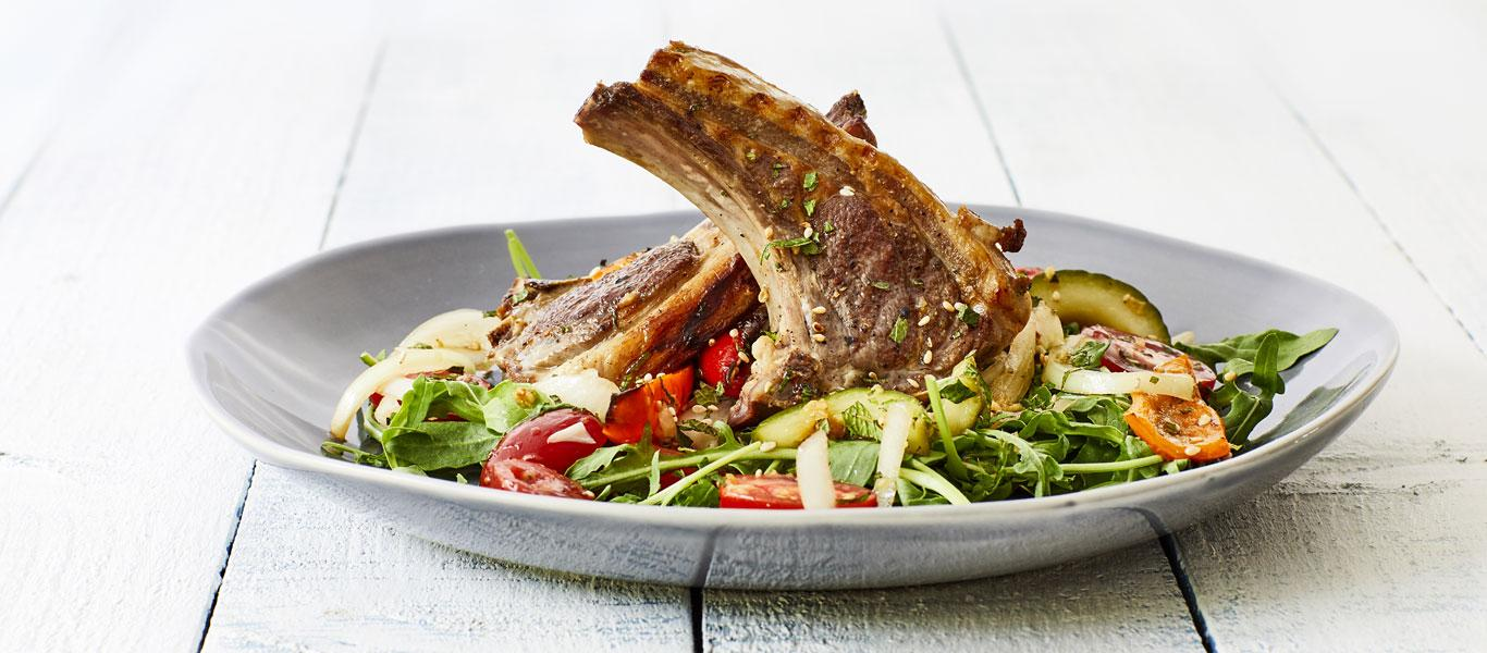 Lamb Chops with Cucumber, Pepper and Rocket Salad