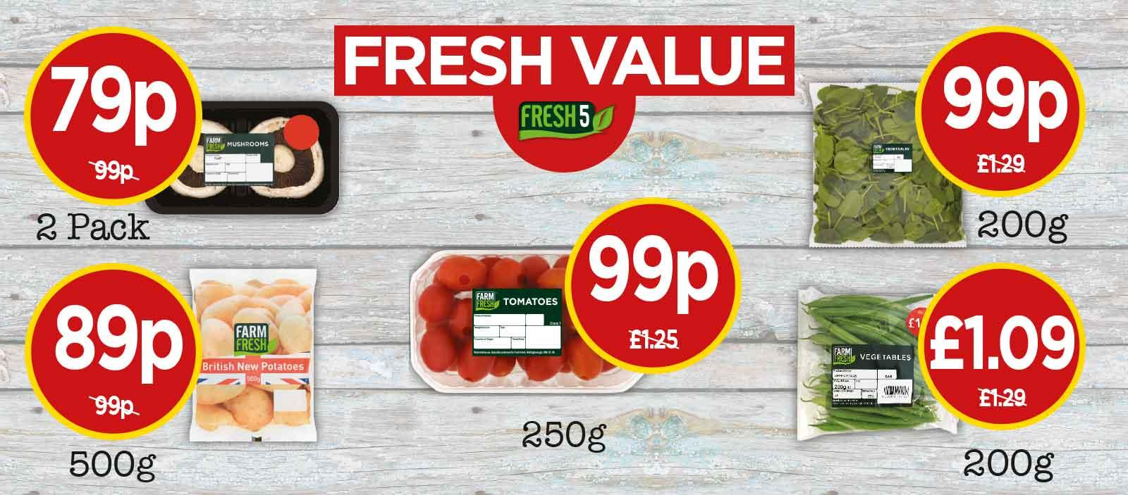 FRESH 5: Farm Fresh Baby Plum Tomatoes, Spinach, British New Potatoes, Flat Mushrooms, Fine Green Beans - at Budgens