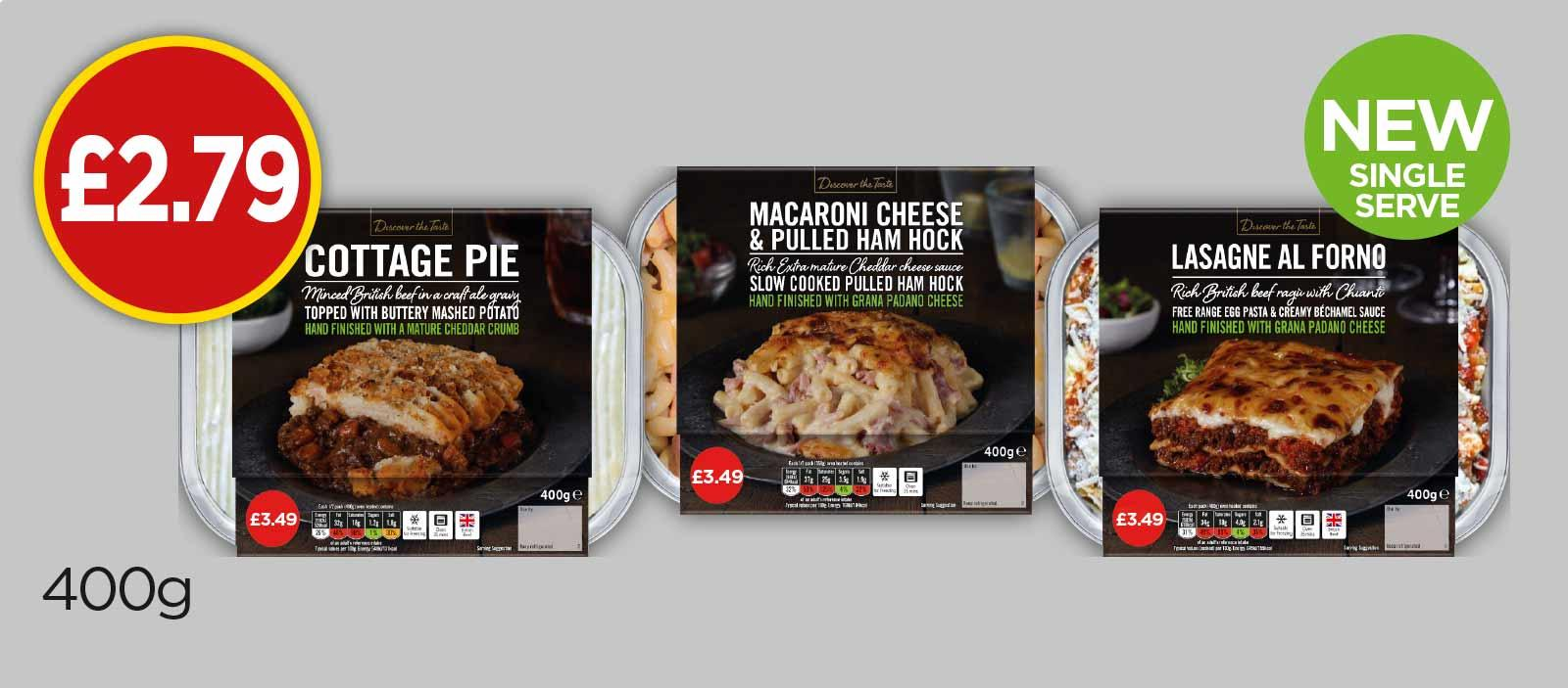 Discover The Taste Beef Lasagne Al Forno, Cottage Pie With Ale, Pulled Ham Mac & Cheese - £2.79 at Budgens
