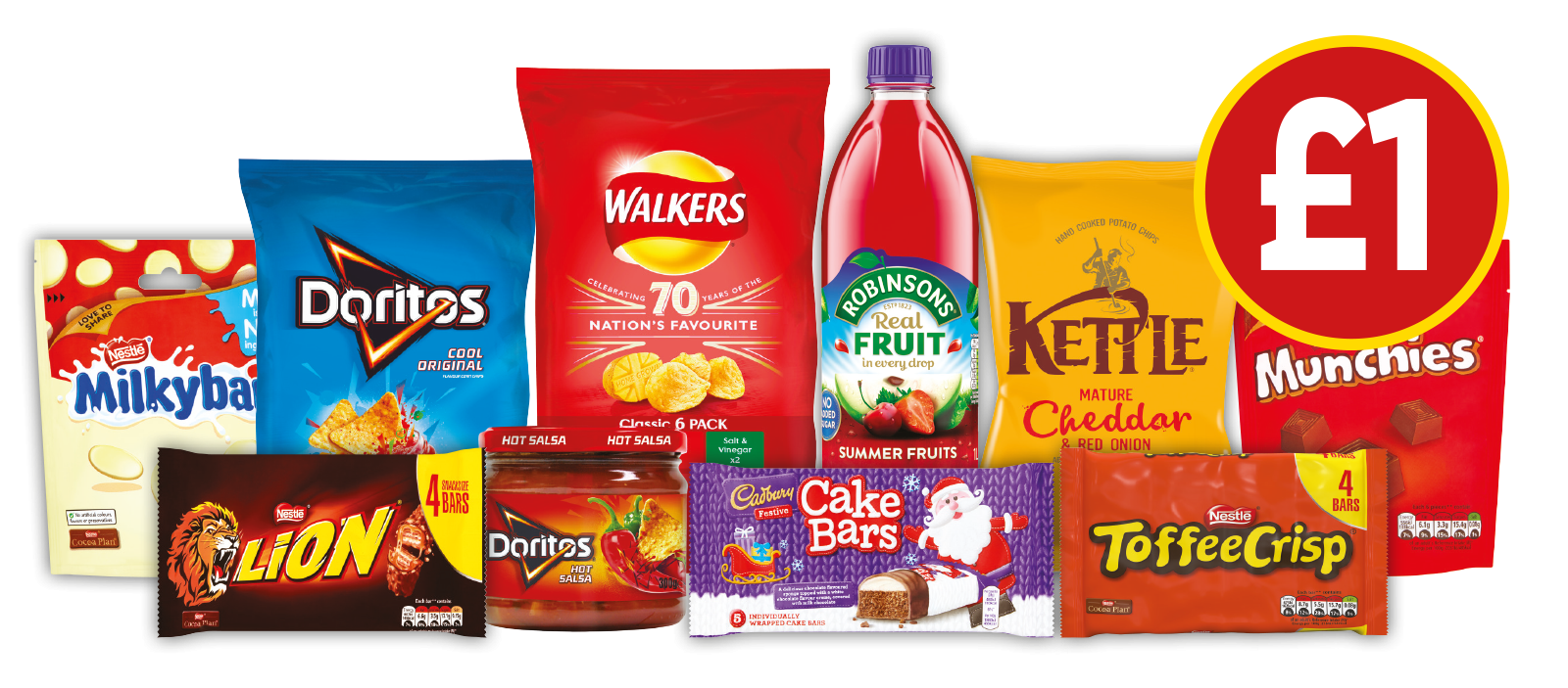£1 DEALS: Toffee Crisp, Lion Bar, Milkybar, Munchies, Doritos Hot Salsa Dip, Doritos Cool Original, Kettle Chips Cheddar & Red Onion and more - Now £1 at Budgens