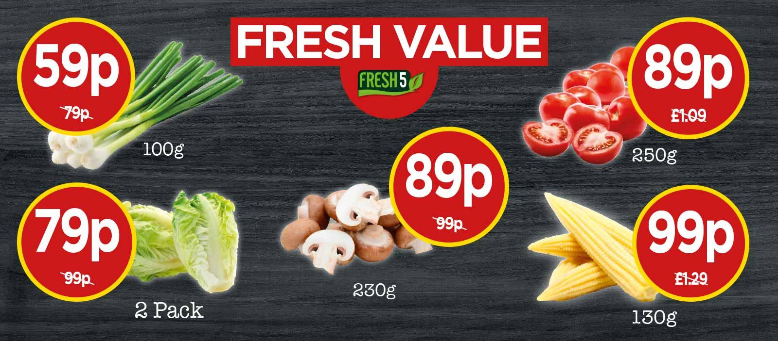 FRESH 5: Farm Fresh Cherry Tomatoes, Chestnut Mushrooms, Little Gem Lettuce, Spring Onions, Fine Green Beans - Fresh Value at Budgens
