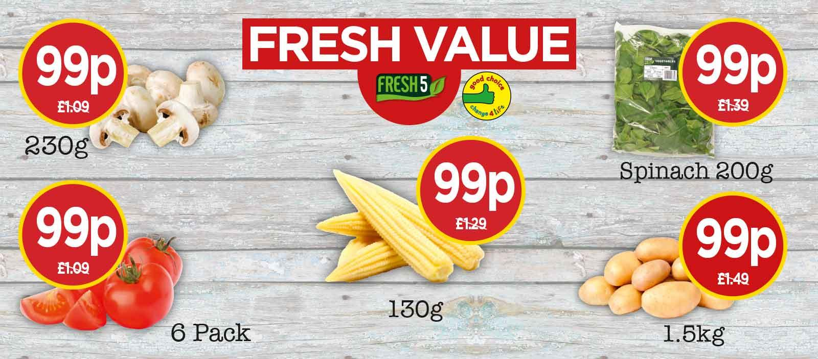 FRESH 5: Farm Fresh Chestnut Mushrooms, Babycorn, Salad Tomatoes, Baby Spinach, Mini Roasting Potatoes - Fresh Value at Budgens