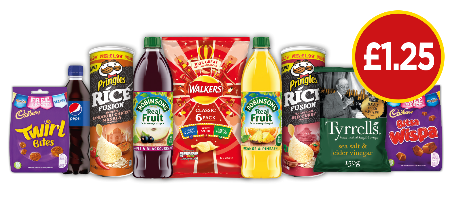 £1.25 DEALS: Pringles Malaysian Red, Pringle Rice Chicken Masala, Cadbury Dairy Milk Bitsa Wispa, Cadbury Giant Buttons, Tyrrells Sea Salt & Cider Vinegar, Robinsons Apple & Blackcurrant NAS - £1.25 at Budgens