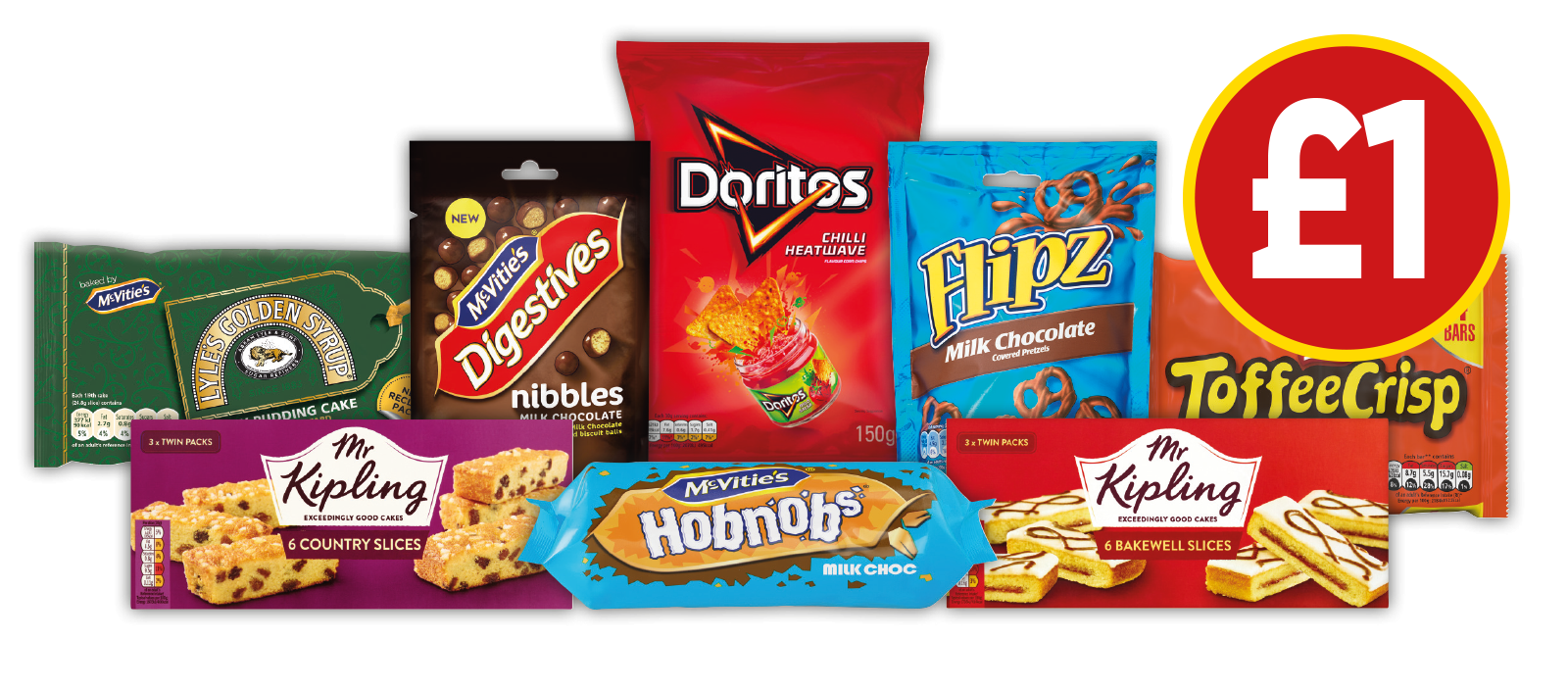 £1 DEALS: Mr Kipling Country Slices, Mr Kipling Bakewell Slices, McVitie's Milk Chocolate Hobnobs, Toffee Crisp Multipack, Doritos Chilli Heatwave Chips and more - Now £1 at Budgens