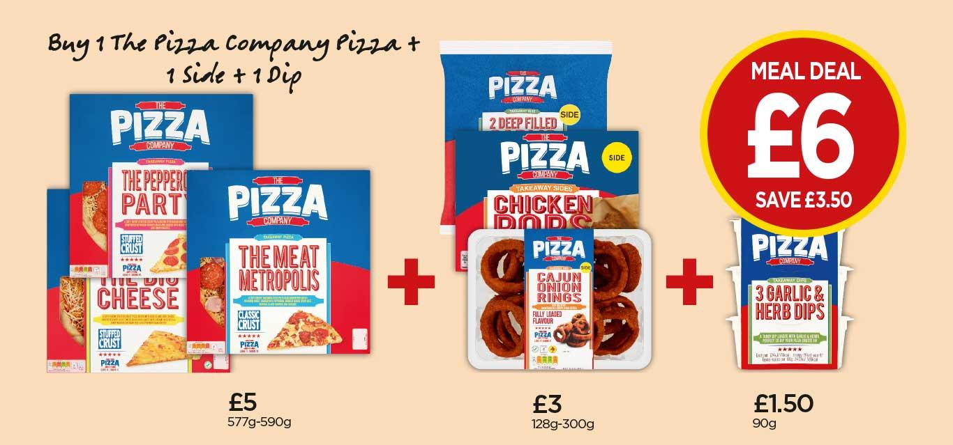 Pizza Co Cheese Pizza, Chicken Pops, Garlic Dips - £6 at Budgens