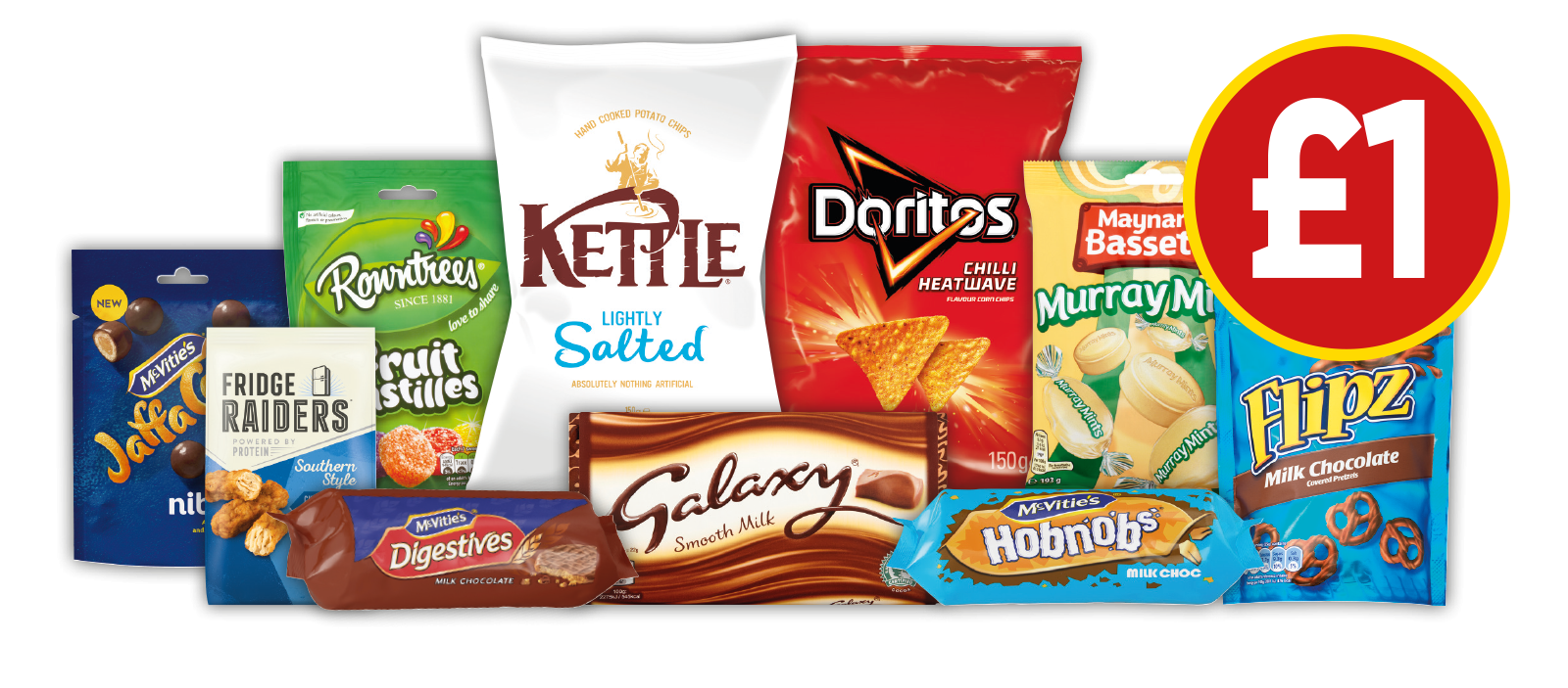 £1 DEALS: McVitie's Milk Chocolate Digestive, McVitie's Milk Chocolate Hobnobs, McVitie's Jaffa Nibbles, Flipz Milk Chocolate Pretzels, Rowntrees Fruit Pastilles Pouch, Galaxy Milk and more - £1 at Budgens