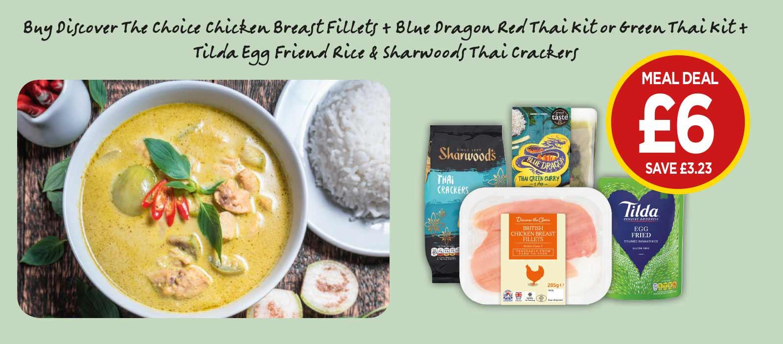 THAI MEAL DEAL: Blue Dragon 3 Step Green Curry, Red Curry, Discover the Choice Chicken Breast Fillets, Tilda Steamed Egg Fried Rice, Sharwoods Thai Crackers - £6 at Budgens