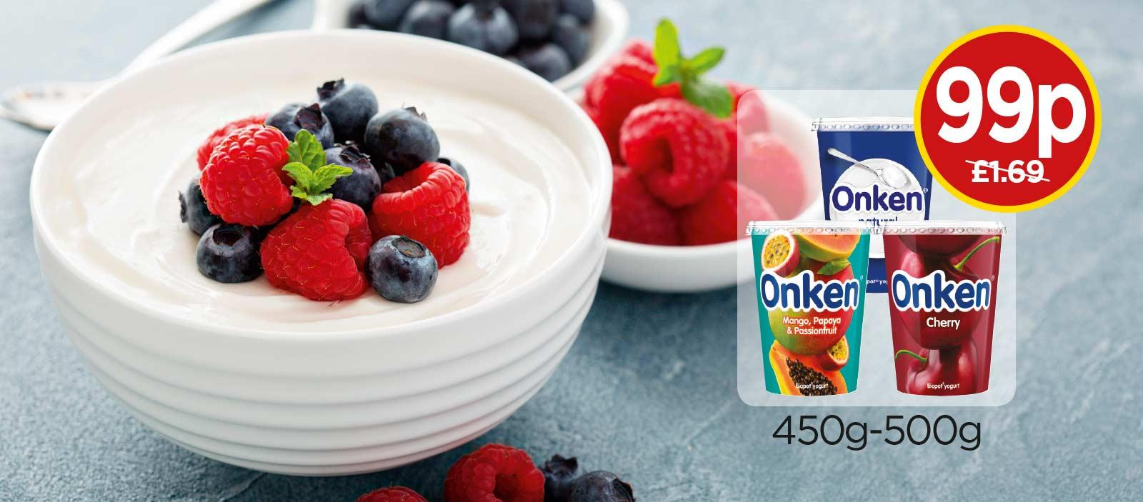 Onken Biopot Yogurt - Mango, Pappaya & Passionfruit, Natural Set, Cherry - Was £1.69, Now 99p at Budgens
