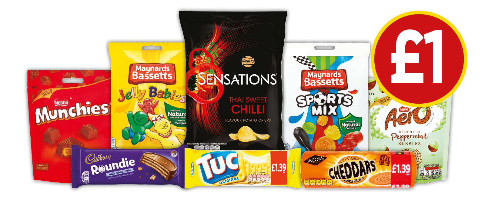 £1 DEALS: Maynard Bassetts Sportsmix, Maynard Bassetts Jelly Babies, Aero Delightful Peppermint Bubbles Pouch, Munchies Pouch, Walkers Sensations Thai Sweet Chilli, Cadbury Roundies Chocolate Multipack, Jacobs Tuc Cracker, Jacobs Cheddars - £1 at Budgens