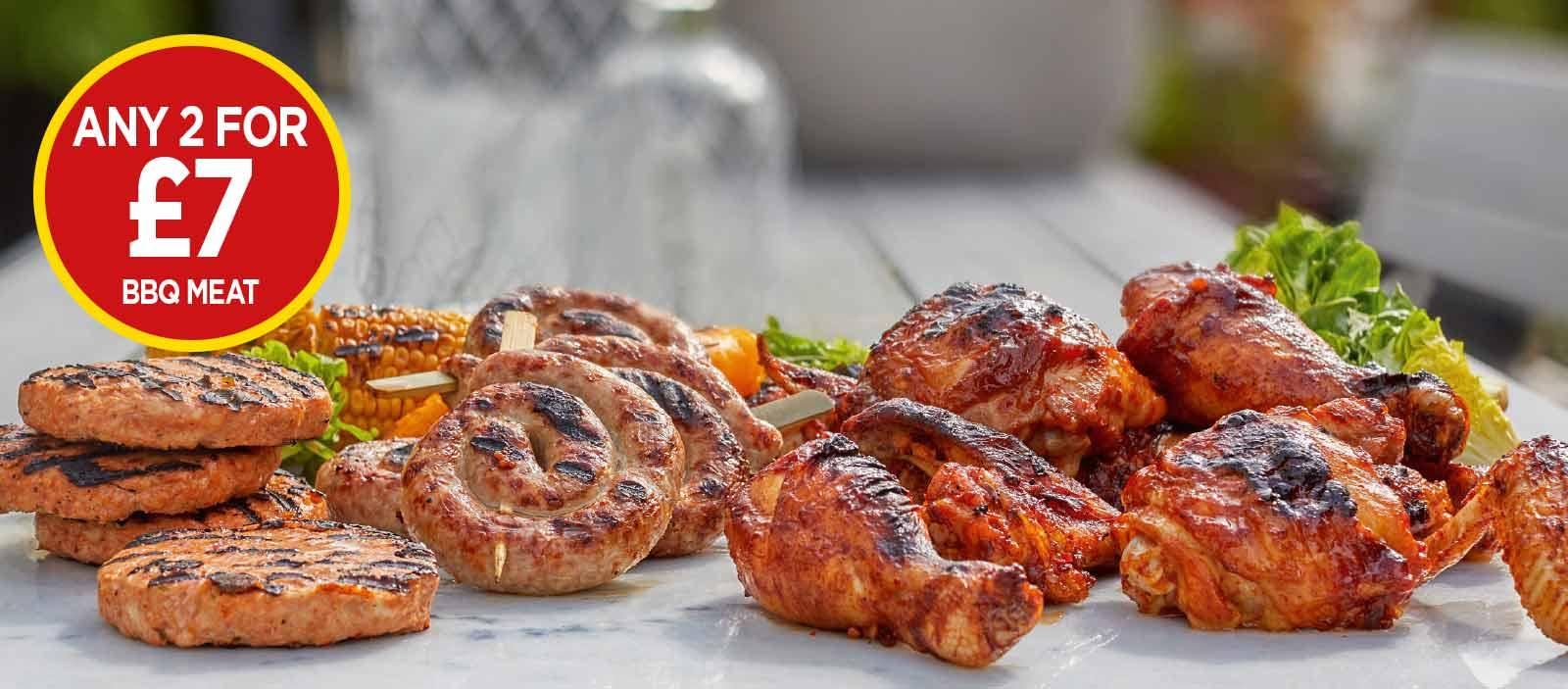 Discover The Choice BBQ Drumsticks, Discover The Choice Smoky BBQ Beef Sliders, Mawgan Bay Big BBQ Tiger Prawn Skewers - Any 2 for £7 at Budgens