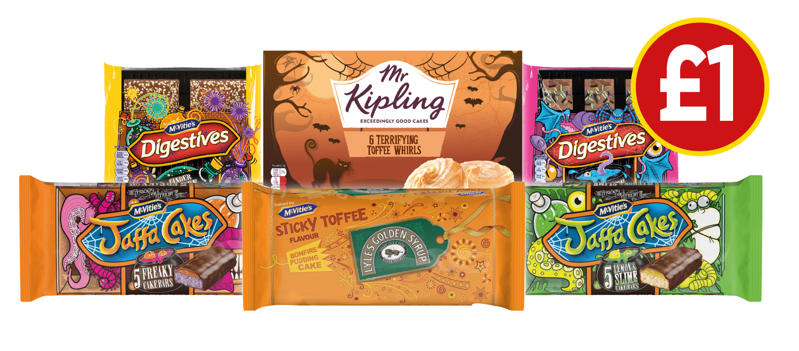 £1 HALLOWEEN DEALS: Mr Kipling Toffee Terror Whirls, Jaffa Cakes Freaky Cake Bars, Jaffa Cakes Lemon & Slime Cake Bars, Lyles Golden Syrup Bonfire Pudding Cake, Digestives Chocolate Beastly Bited, Digestives Cinder Toffee Toffin - £1 at Budgens