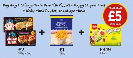 FROZEN MEAL DEAL: Chicago Town Deep Dish 4 Cheese Pizza, Pepperoni Pizza, Happy Shopper American Style Fries, Walls Mini Twister 8 Pack - £5 at Budgens