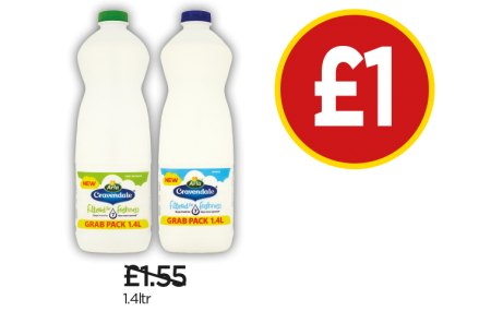 Arla Cravendale Semi-Skimmed Milk, Whole Milk - Was £1.55, Now £1 at Budgens
