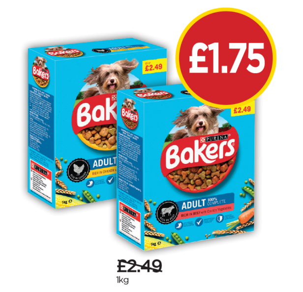 Bakers Adult Chicken & Vegetable - Was £2.49, Now £1.75 at Budgens