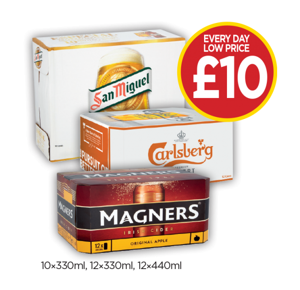 Carlsberg Export Can, San Miguel, Magners Cans - Everyday Low Price of £10 at Budgens