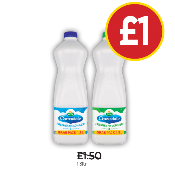 Cravendale Whole Milk, Semi Skimmed Milk - Was £1.50, Now £1 at Budgens
