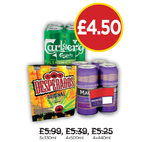 Desperados, Carlsberg Pilsner, Magners Dark Fruit - Now £4.50 at Budgens
