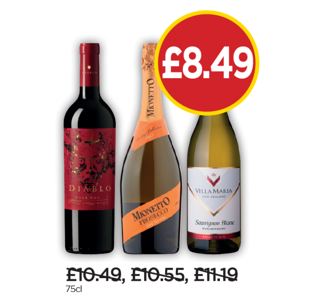 Diablo Dark Red, Mionetto Prosecco, Villa Maria Sauvignon Blanc - Now £8.49 at Budgens