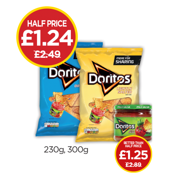 Doritos Lightly Salted, Cool Original, Mild Salsa Dip - Was £2.49, £2.89 - Now Half Price at Budgens