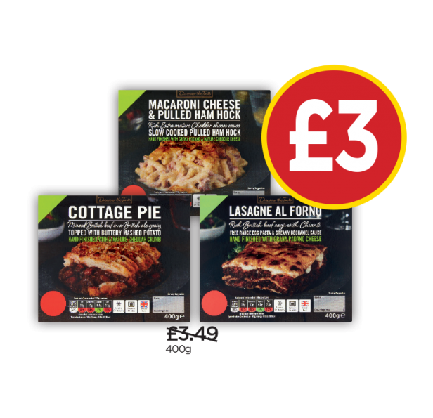 Discover The Taste Lasagne Al Forno, Cottage Pie/Ale, Mac Cheese & H/Hock - Was £3.49, Now £3 at Budgens