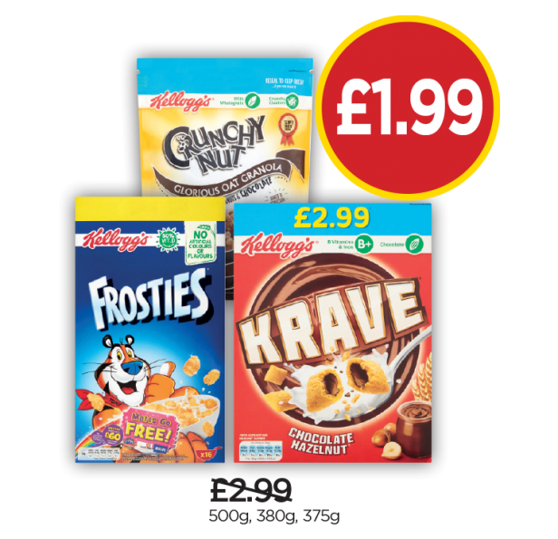 Kelloggs Frosties, Crunchy Nut Granola, Krave - Was £2.99, Now £1.99 at Budgens