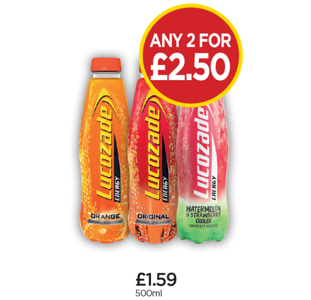 Lucozade Energy Orange, Original, Watermelon - Any 2 for £2.50 at Budgens