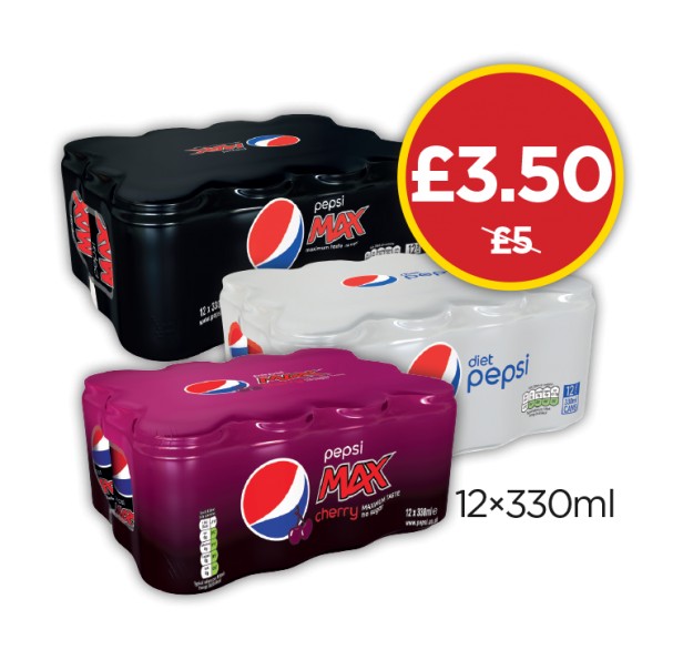 Pepsi Max Multipack, Pepsi Diet, Pepsi Max Cherry Retail Wrap - Was £5, Now £3.50 at Budgens