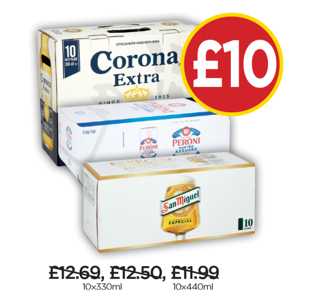Peroni Cans, Corona Extra, San Miguel - Now £10 at Budgens