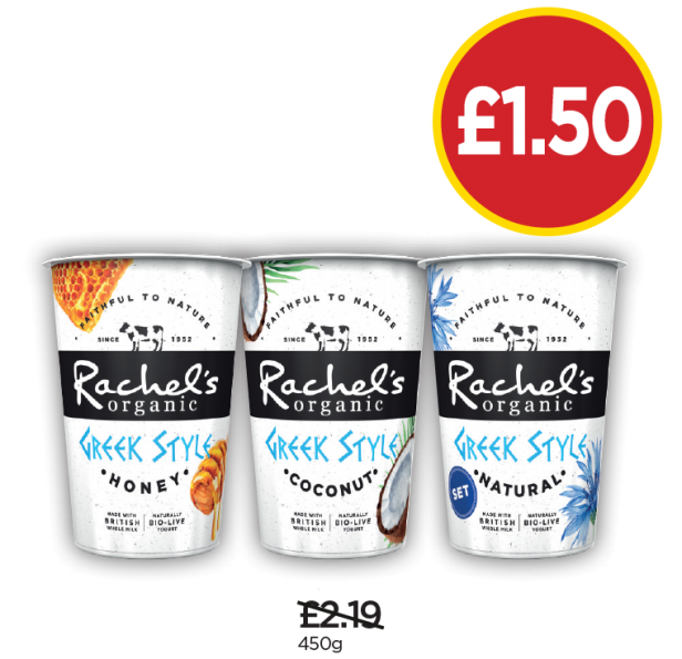 Rachel's Greek Honey Yogurt, Greek Coconut Yogurt, Organic Greek Style Natural - Was £2.19, Now £1.50 at Budgens