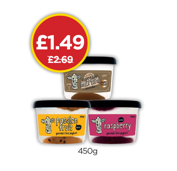 The Collect Passionfruit Yogurt, Limted Edition Yogurt, Raspberry Yogurt - Was £2.69, Now £1.49 at Budgens