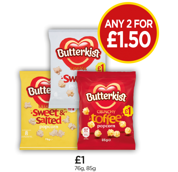 Butterkist Sweet Popcorn, Toffee Popcorn, Sweet & Salt Popcorn - Any 2 for £1.50 at Budgens