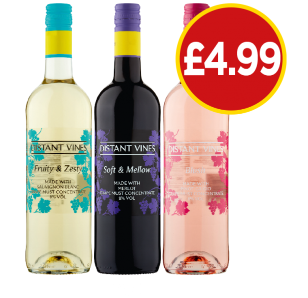 Distant Vines Fruity & Zesty, Soft & Mellow, Blush - £4.99 at Budgens