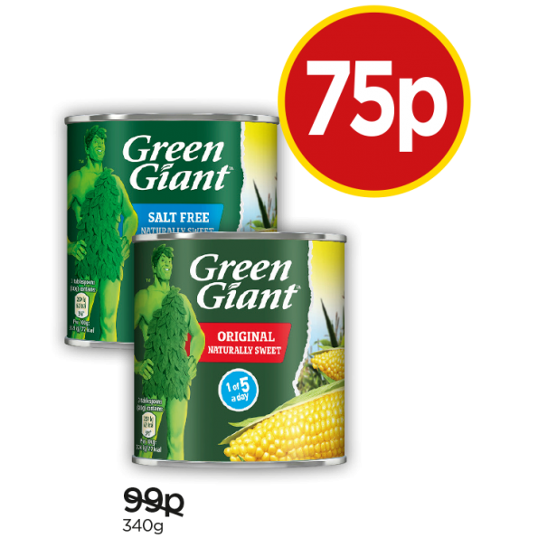 Green Giant Niblets Original, Green Giant Salt Free Sweet Corn - Was 99p, Now 75p at Budgens