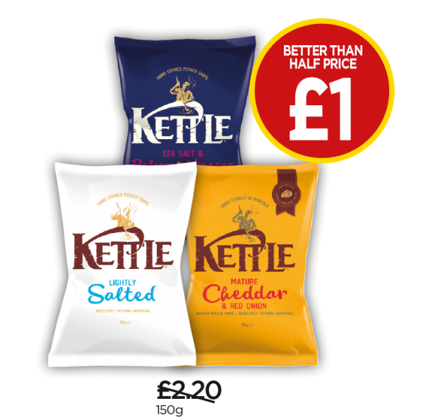 Kettle Chips Lightly Salted, Sea Salt & Balsamic Vinegar, Cheddar & Red Onion - Better Than Half Price - Now £1 at Budgens