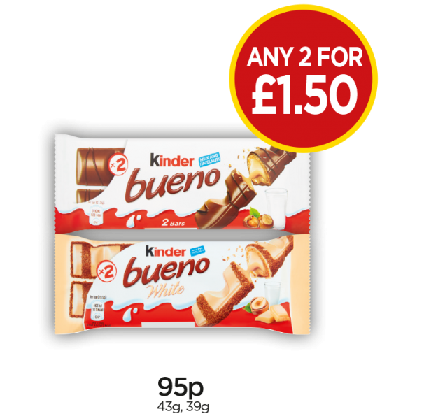 Kinder Bueno, White - Any 2 for £1.50 at Budgens