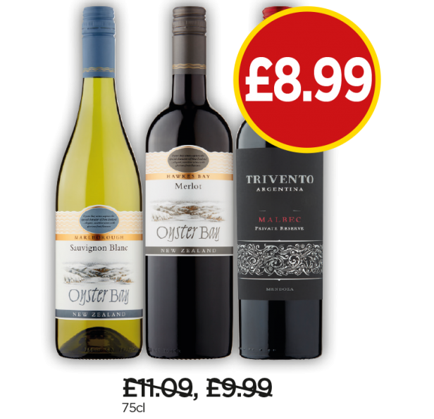 Oyster Bay Sauvignon Blanc, Merlot, Trivento Argentina Malbec - Now £8.99 at Budgens