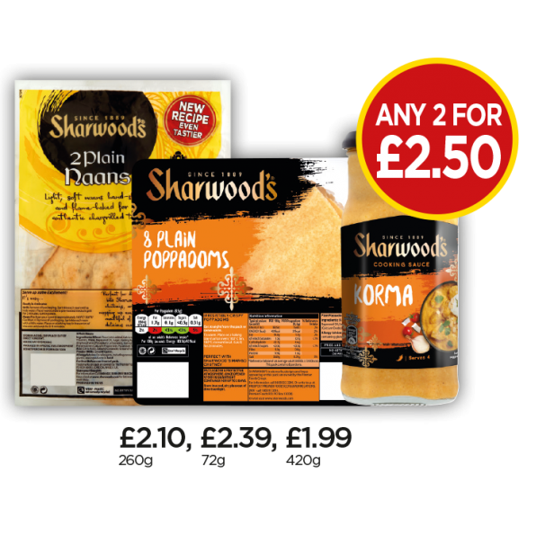Sharwood's Plain Poppadoms, Plain Naan Bread, Korma Cooking Sauce - Any 2 for £2.50 at Budgens