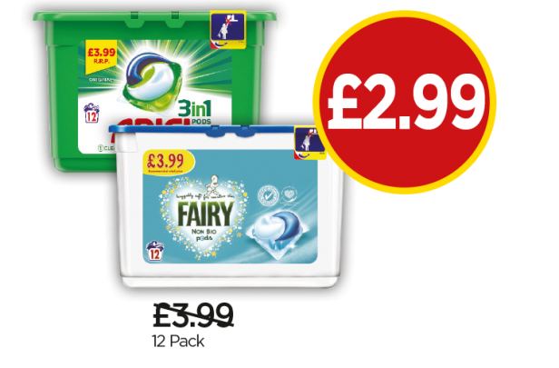 Ariel 3 In 1 Capsules, Fairy Non-Bio Washing Pods - Was £3.99, Now £2.99 at Budgens
