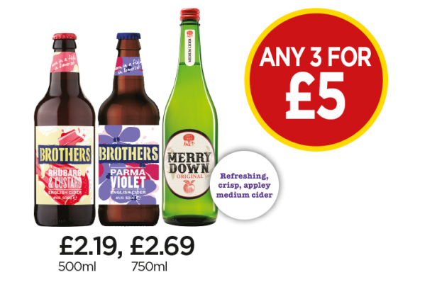 Brothers Rhubarb & Custard Cider, Brothers Palma Violet Cider, Merrydown Original - Any 3 for £5 at Budgens