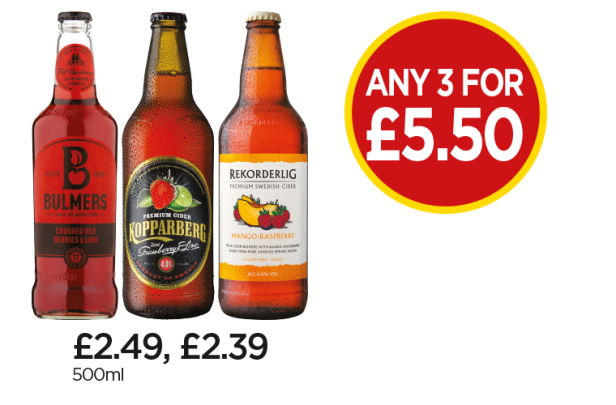 Bulmers Crushed Berry & Lime Cider, Kopparberg Strawberry & Lime Cider, Rekorderlig Mango & Raspberry Cider - Any 3 for £5.50 at Budgens