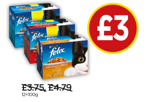Felix Fish Selection in Jelly, Meat Selection in Jelly, Poultry Selection In Jelly - Now £3 at Budgens