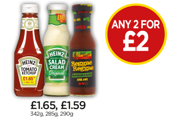 Heinz Tomato Ketchup Squeezy, Heinz Salad Cream, Levi Roots Reggae Reggae Marinade & Sauce Jerk BBQ - Any 2 for £2 at Budgens