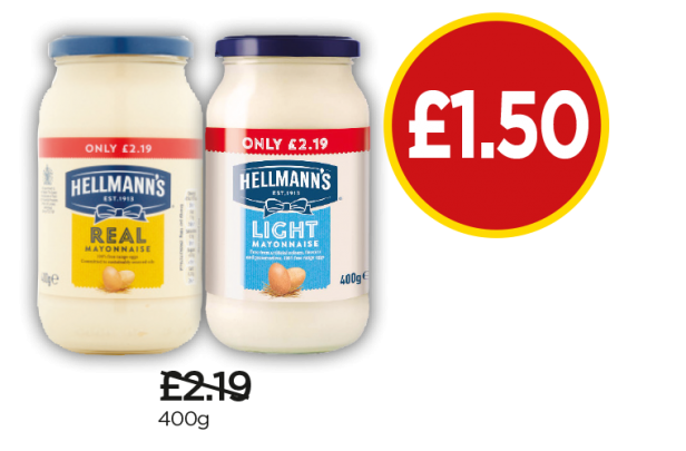 Hellmann's Mayonnaise Real, Light - Was £2.19, Now £1.50 at Budgens