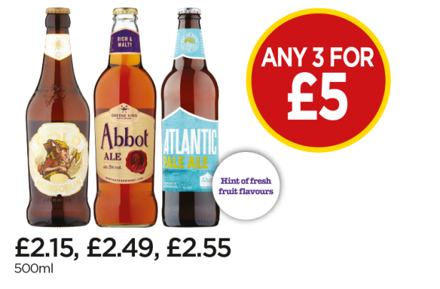 Wychwood Hobgoblin Gold, Abbot Ale, Atlantic Pale Ale - Any 3 for £5 at Budgens